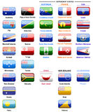 Flags of countries in Oceania. Flags of the world, set of flags, banners oceania, oceania dependent countries, illustration, plastic style flags, banners with Royalty Free Stock Photos