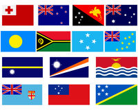 Flags of countries in Oceania Royalty Free Stock Photos