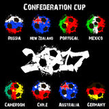 Flags of the countries participant of the Confederation Cup 2017 Royalty Free Stock Images