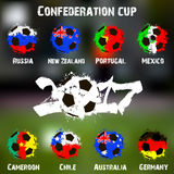 Flags of the countries participant of the Confederation Cup 2017 Royalty Free Stock Photos