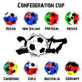 Flags of the countries participant of the Confederation Cup 2017 Royalty Free Stock Photography