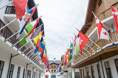 The flags of the countries participating in the Olympic games in Royalty Free Stock Photo