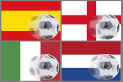 Flags from 4 countries and rolling football Royalty Free Stock Photo