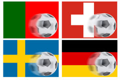 Flags from 4 countries and rolling football Royalty Free Stock Photography