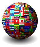 Flags of countries set in a sphere Stock Image