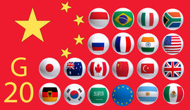 Flags countries summit meeting G20 Stock Images