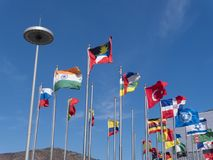 Flags of the countries of the world on flagpoles. Expo, Yeosu city stock photo