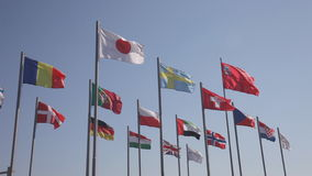 Flags of the countries of the world. Wave on a wind stock footage
