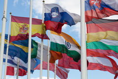 Flags of the countries of the world. Wave on a wind stock photography