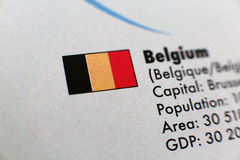 Flags and country details, Belgium Royalty Free Stock Image
