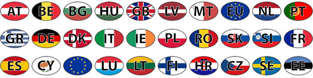 Flags of the country of the EU oval sticker Royalty Free Stock Images