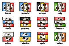 Flags country and  soccer balls Stock Photos