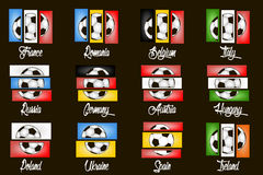 Flags country and  soccer balls. Set flags country and  soccer balls. Vector illustration Stock Photos