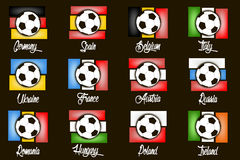 Flags country and  soccer balls. Set flags country and  soccer balls. Vector illustration Stock Images