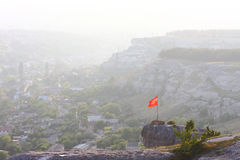 Flags in Crimea. Some flags in crimea near the mountains Royalty Free Stock Photo