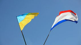 Flags Of Crimea And Ukraine Swaying On Wind. CLOSE UP. Two colourful flags of Crimea and Ukraine on sticks swaying on the wind on crystal blue sky background stock video footage