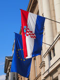 Flags of Croatia and EU Royalty Free Stock Photos