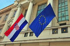 Flags of Croatia and European Union Royalty Free Stock Images