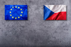Flags of the Czech Republic and the European Union on concrete background Stock Image