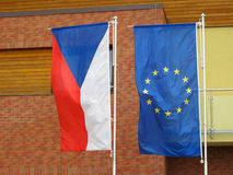 Flags of Czech republic and European Union Stock Photo