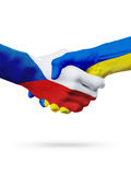 Flags Czech Republic, Ukraine countries, partnership friendship handshake concept. Flags Czech Republic, Ukraine countries, handshake cooperation, partnership Royalty Free Stock Photos