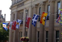 Flags decorating the Canadian Embassy in London, England Stock Image