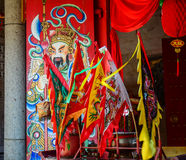 Flags for decoration at Chinese temple in Penang, Malaysia Royalty Free Stock Photo