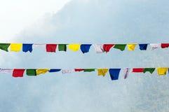 flags den tibetana bergbönen Arkivfoton