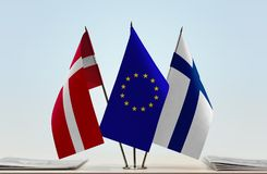 Flags of Denmark European Union and Finland. Desktop flags of Denmark European Union and Finland Stock Images