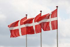 Flags of Denmark Royalty Free Stock Photo