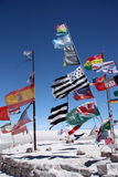 Flags in desert of Salar de Uyuni Royalty Free Stock Photography