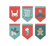 Christmas Flags design set vector illustration