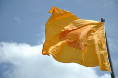 Flags of Dhammajak buddhism Royalty Free Stock Photo