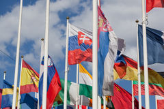 Flags of the different countries Stock Photography