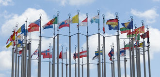 Flags of different countries Royalty Free Stock Image