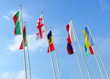 Flags of the different countries stock images