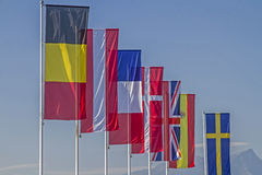 Flags of different countries Royalty Free Stock Photography