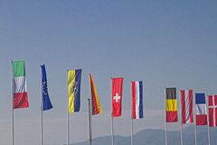 Flags of different countries Royalty Free Stock Photo