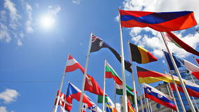 Flags of the different countries stock video footage
