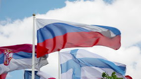 Flags of different countries flapping in wind. Many bright flags waving under cloudy sky in Moscow stock footage