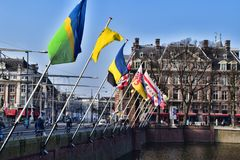 Flags of different countries in Hague, The Netherlands. Close by Binnenhof or Inner Court Royalty Free Stock Image