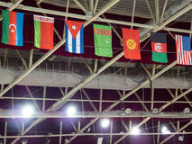 Flags of different countries hang over the arena. Flags of different countries hang over the sports arena Royalty Free Stock Photo