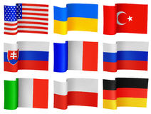 Flags of the different countries. Illustrations of flags of the different countries royalty free illustration