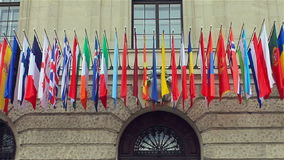 Flags of different countries of the international community, summit in Vienna stock video footage