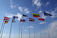 Flags of different countries, national symbols or signs Royalty Free Stock Image