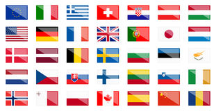 Flags of different countries with reflection Royalty Free Stock Images