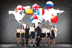 Flags of different countries on the white map. Royalty Free Stock Photo