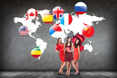 Flags of different countries on the white map. Royalty Free Stock Images