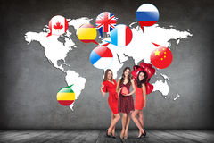 Flags of different countries on the white map. Elements of this image furnished by NASA Stock Photos