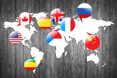 Flags of different countries on the white map. Elements of this image furnished by NASA Royalty Free Stock Images